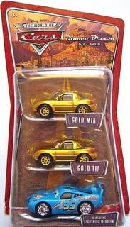 Disney Cars Dinoco Mcqueen Bling Bling Gold Mia & Tia Mattel