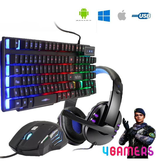 Kit Gamer Pc Barato Teclado Semi-mecânico + Mouse Rgb + Headset P3 + Super Brinde