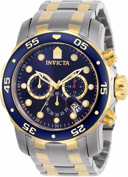 Relógio Invicta Pro Diver 0077 Misto Aço E Ouro 100% 2018
