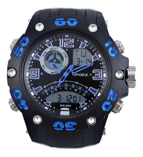 Relógio Esportivo Epozz Original Preto/azul