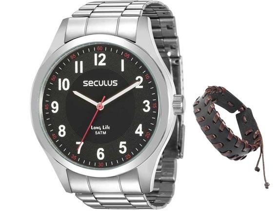 Relógio Seculus Masculino Prata 28888g0svna1k1 + Pulseira