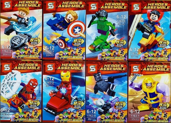Kit 8 Bonecos Vingadores Thanos Compatível Lego Blocos