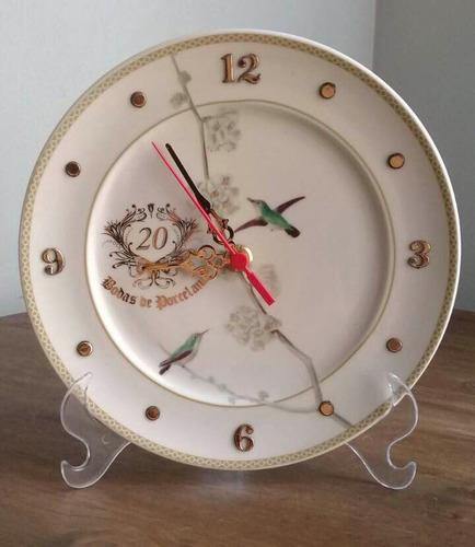 Imagem 1 de 3 de Relógio Passaros Bodas De Porcelana 20 Anos De Casamento