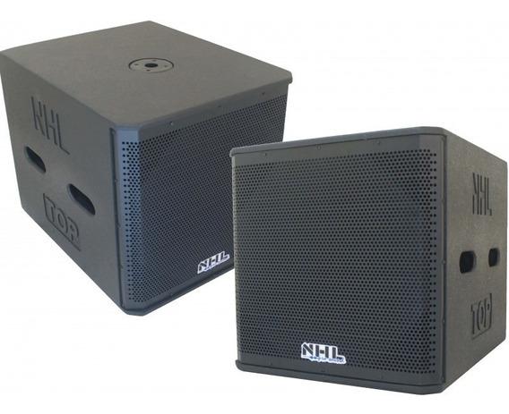 Kit Caixa Sub 18 Nhl Ativo + Passivo 1800w Amplificado Top