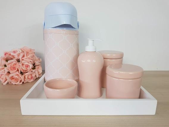 Kit Higiene Bebe Porcelana Rosa Seco Garrafa Com Capa