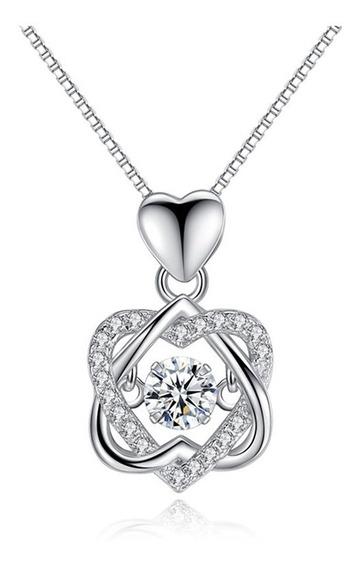 Collar S925 Dije Corazón Doble Cristal Swarovski Regalo Amor