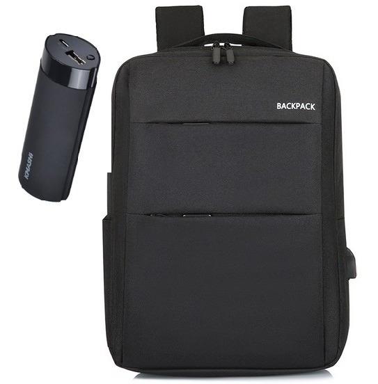 Combo Mochila Porta Notebook C/carga Usb + Cargador 5000mah