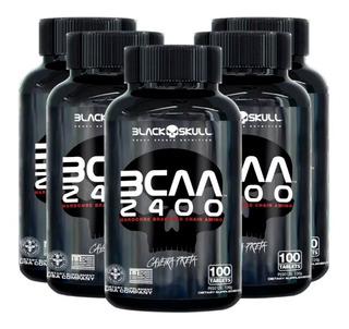 5x Bcaa 2400 Caveira Preta 100 Tabletes - Black Skull