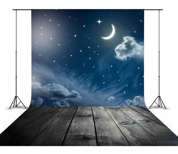 Fundo Fotográfico Madeira Noite Lua Amor Benção 3d 1,5x2,2