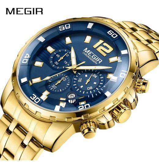 Relógio Megir Original Dourado E Azul Com Brinde .