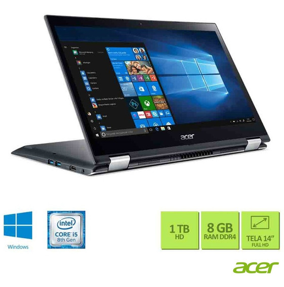 Notebook Acer Spin 3,intel® I5-8250u, 8gb, 1tb Sp314-51-c5np