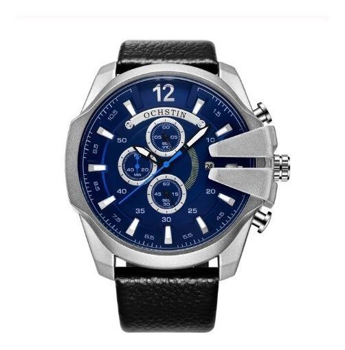 Relógio Masculino Ochstin 6062 Couro Aço Preto Prata Bronze