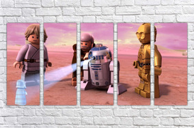Quadro Decorativo Lego Star Wars Decoração Mosaico 5 Pçs 001