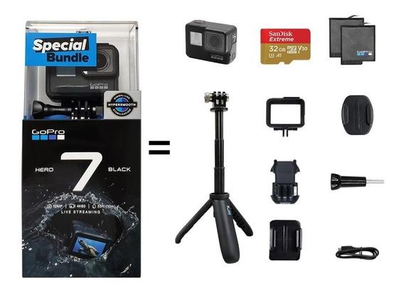 Gopro Hero 7 Black 4k60 + Kit De Acessórios Special Bundle