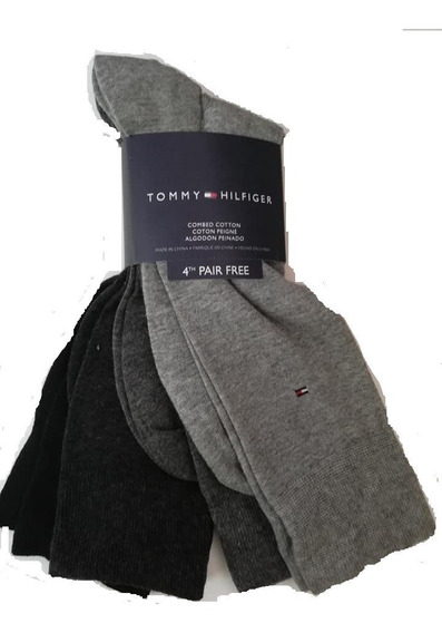Pack Calcetines Tommy Hilfiger Hombre 4 Pares Negro Gris