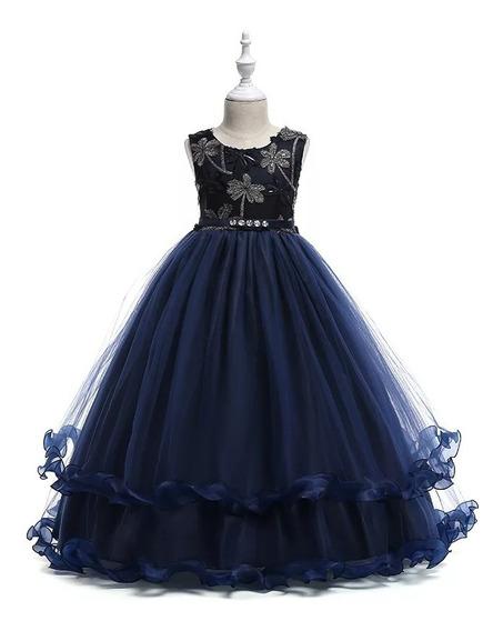 Vestido Niña D Gala, Cumpleaños /tul /encaje Azul Y Vino