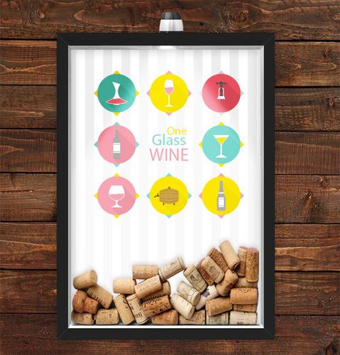 Imagem 1 de 1 de Quadro Caixa Rolha Vinho Com Led Taças Vinho