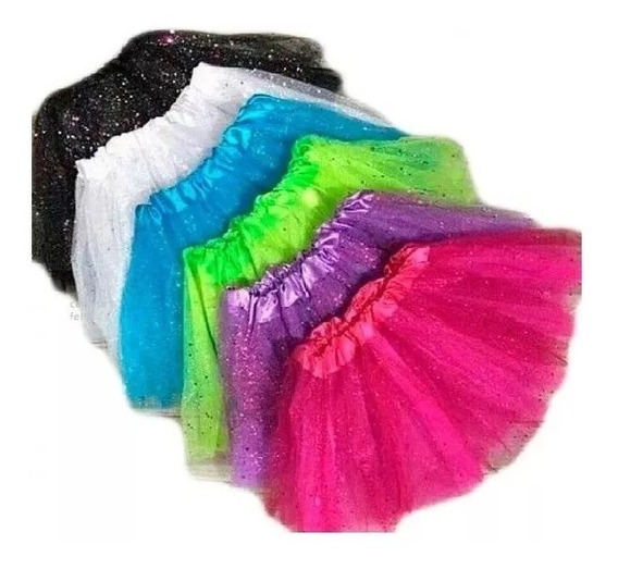 1 Saia De Tule Adulto Com Brilho Glitter Carnaval 40 Cm