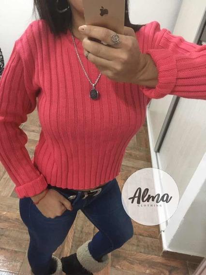 Sweater Rosa Corto Canelon Mujer Moda Invierno Pantalón