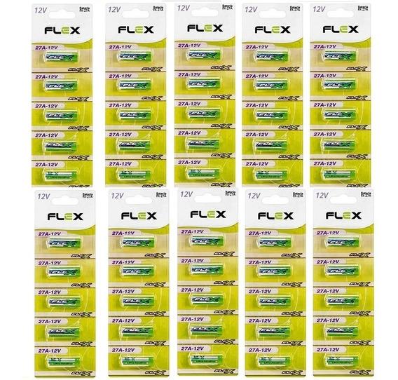 Kit 100 Bateria Pilha 27a 12v Cartela Alcalina Portão Alarme