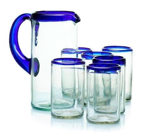 Imagen 1 de 1 de Jarra  + 6 Vasos Posta Cobalto De Vidrio Soplado Artesanal