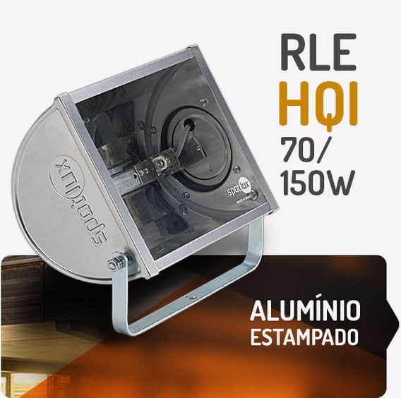 Refletor Alumínio Rle 70-150w Hqi Spotlux Retangular S/lamp