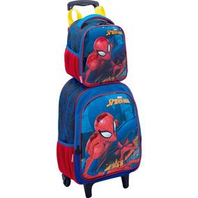 Kit Mochila C/rodas Lancheira E Estojo Infantil Spider Man