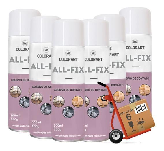 6 Cola Adesivo De Contato Spray Colorart All-fix 300ml Forte