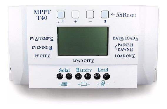 Controlador De Carga Solar 40a Mppt 12v 24v Frete Grátis