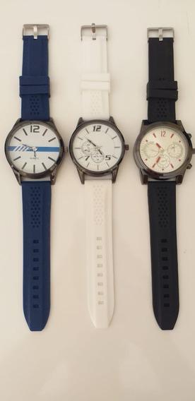 Relógio Masculino Pulseira Borracha + Caixa + Bateriareserva
