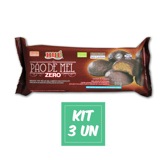 Biscoito Pão De Mel Zero Hué Sem Lactose Vegano Kit 3 Un
