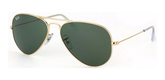 Ray Ban Aviador Rb3025 Verde G15 C Dourado Original Feminino