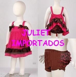 Cod 324 - Bebê Menina 2 Peças Vestido + Calcinha 6 A 9 Meses