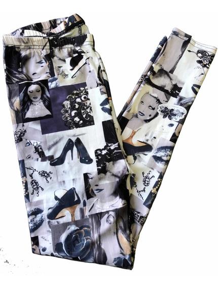 Calzas De Mujer Estampadas En Gris, Blanco Y Negro