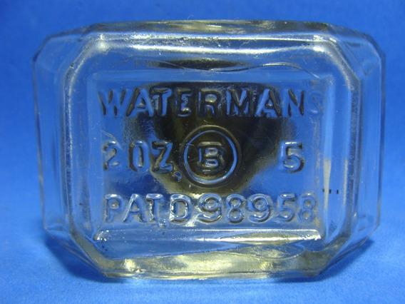 Waterman Antiguo Tintero Tapa De Metal