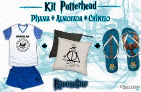 Kit Pijama Feminino + Almofada + Chinelo Harry Potter