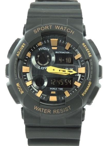 Relógio Masculino Sanda 899 Reverse Dourado Digital Prova De Água Cronometro Calendário Alarme E Luz Shock Frete Grátis
