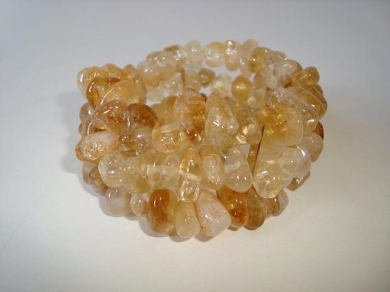 Pulseira Elástica Tripla Pedra Natural Citrino Amarelo