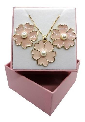 Imagem 1 de 5 de Conjunto Flores Rosa Banhado A Ouro 18 K Pinkcat