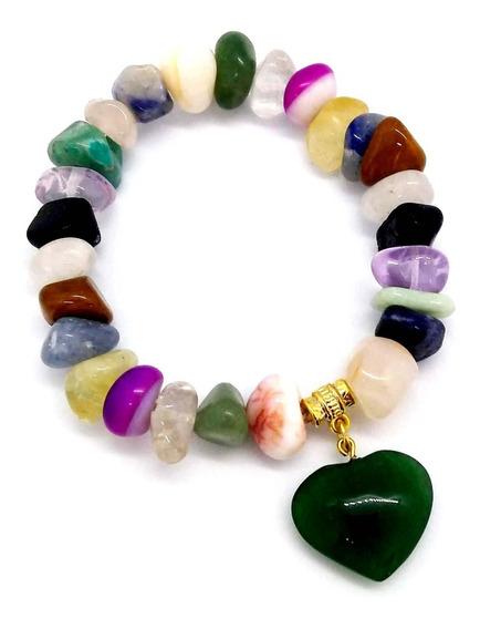 Pulseira Pedras Sortidas Ágatas Quartzo Ametista C/ Coração
