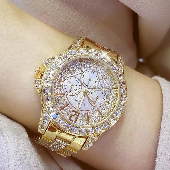 Relógio Luxo Feminino Strass Banhado A Ouro Bee Sister 1158