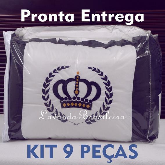 Kit Enxoval Berço 9 Peças Promoção Branco Marinho Coroa
