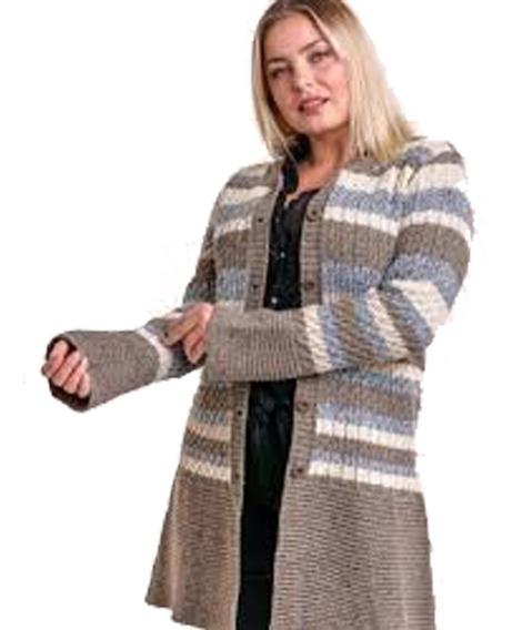 Tapado Cárdigan Sweater C/ Botones Saco De Lana Kierouno