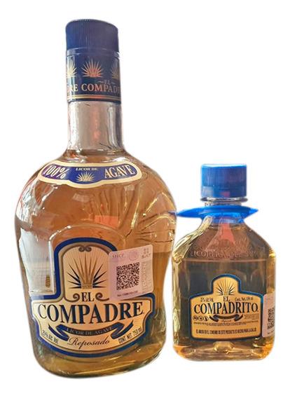 Destilado De Agave El Compadre Reposado + Pachita De 750 Ml