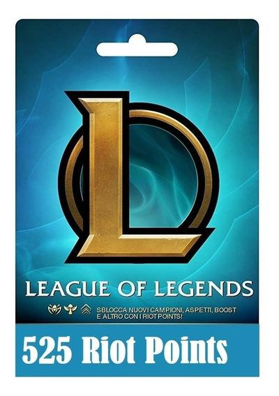 Cartão League Of Legends Lol - 525 Riot Points Rp Br Brasil