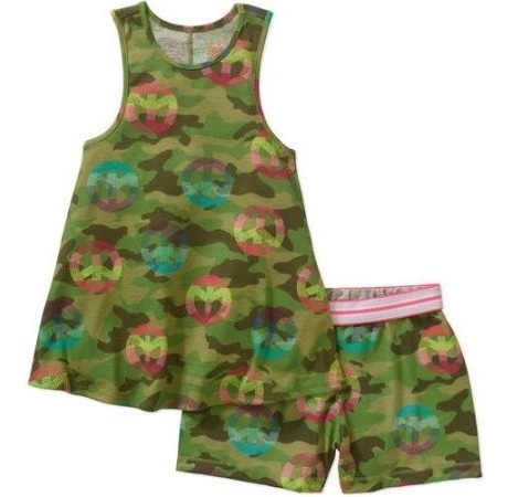Conjunto Blusa Short Camuflaje Tala 4/5 Años