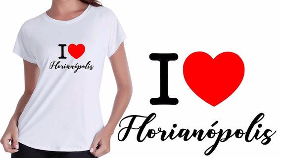 Camisa Camiseta Baby Look Branca Eu Amo Florianópolis Cidade