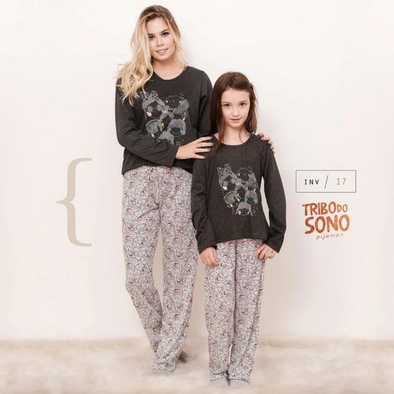Kit 2 Pijamas Mãe Filha Inverno Blusa Estampada Menina