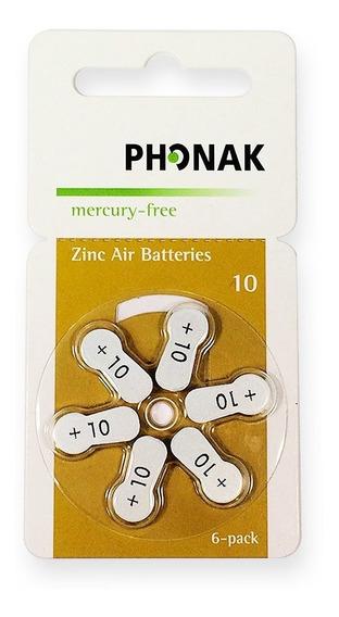 Baterias P10 Para Aparelho Auditivo Phonak 10 Caixa Com 60 P