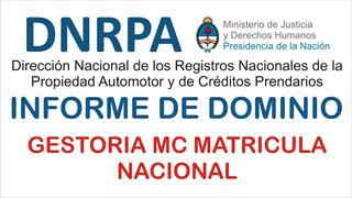 Informe De Dominio Auto/moto Oficial Dnrpa